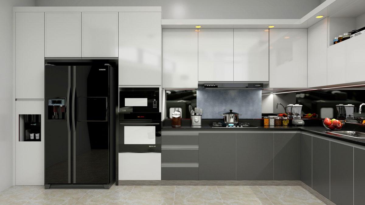 Gray White L Shape Modular Kitchen