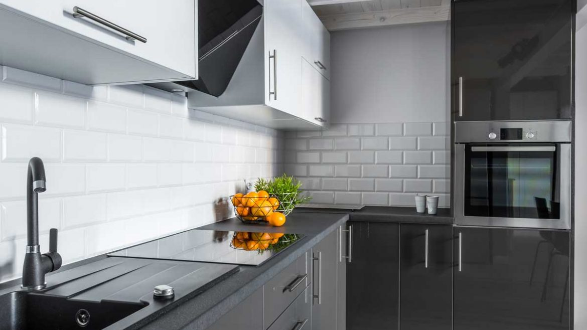 Gray White L Shape Modular Kitchens