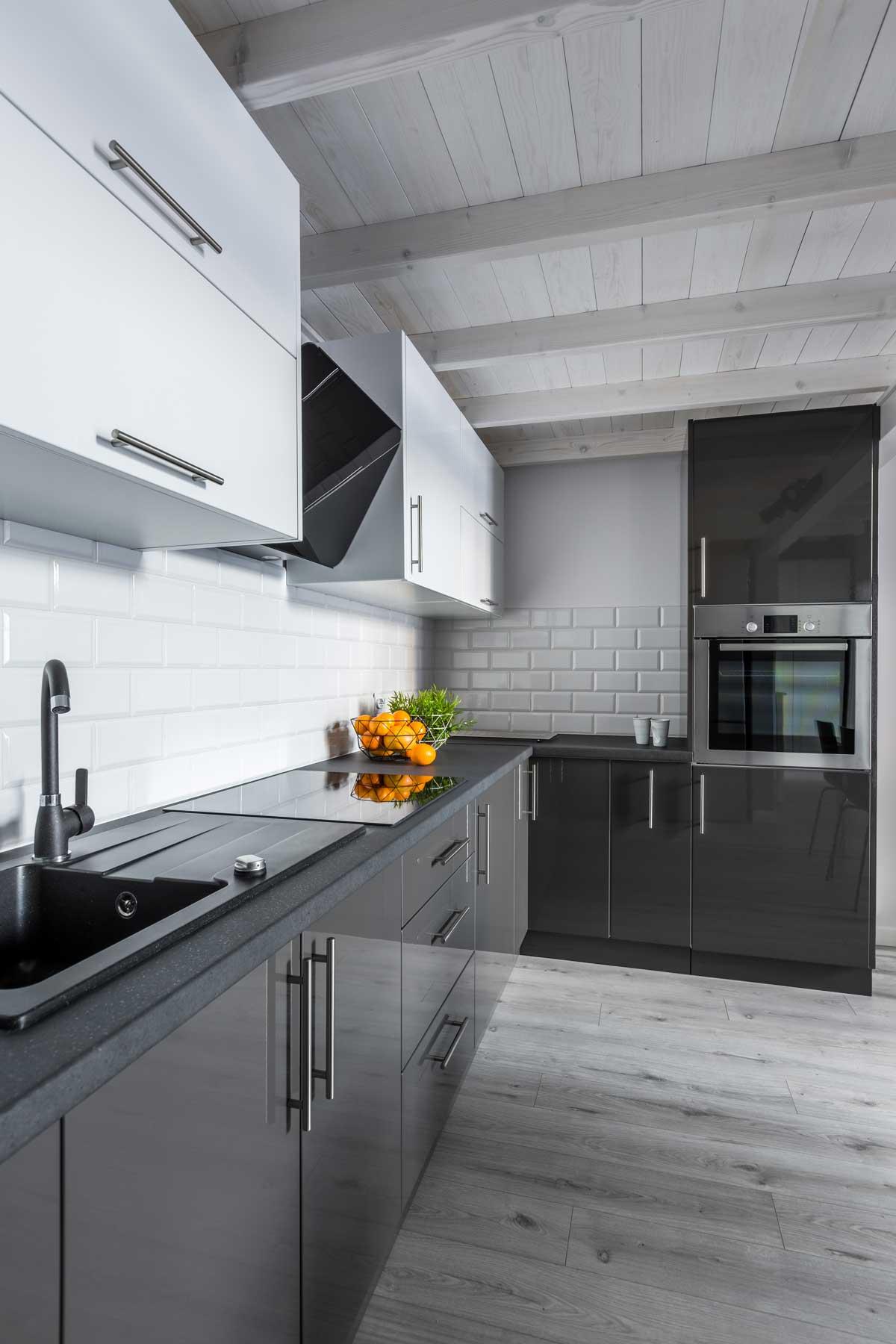 Gray White L Shape Modular Kitchens