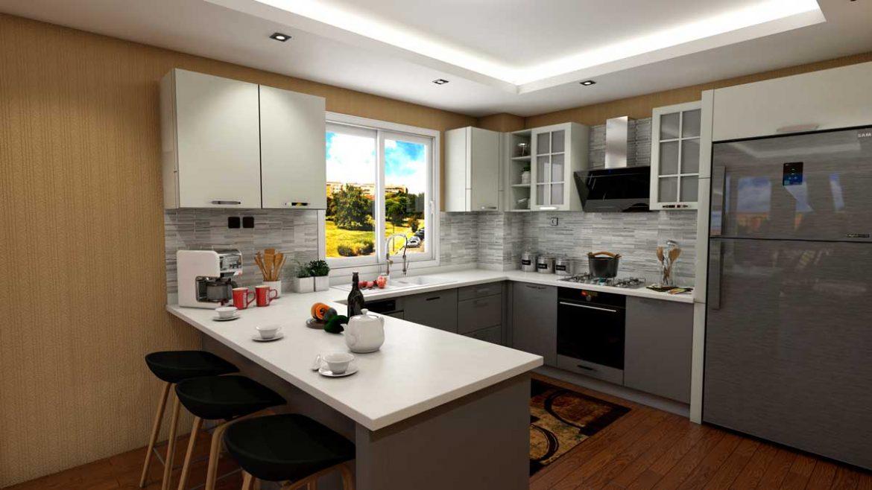 Gray White U Shape Modern Kitchen With Appliances