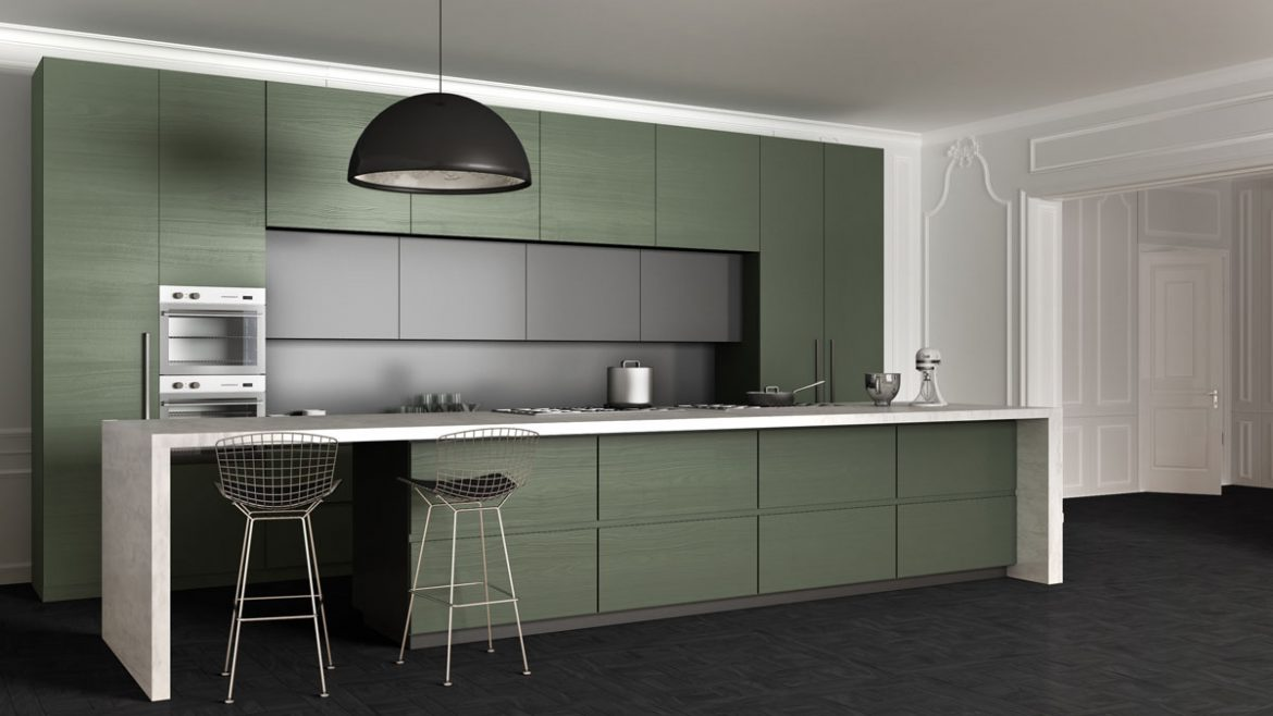 Green Texture Matt Straight Island Kitchen