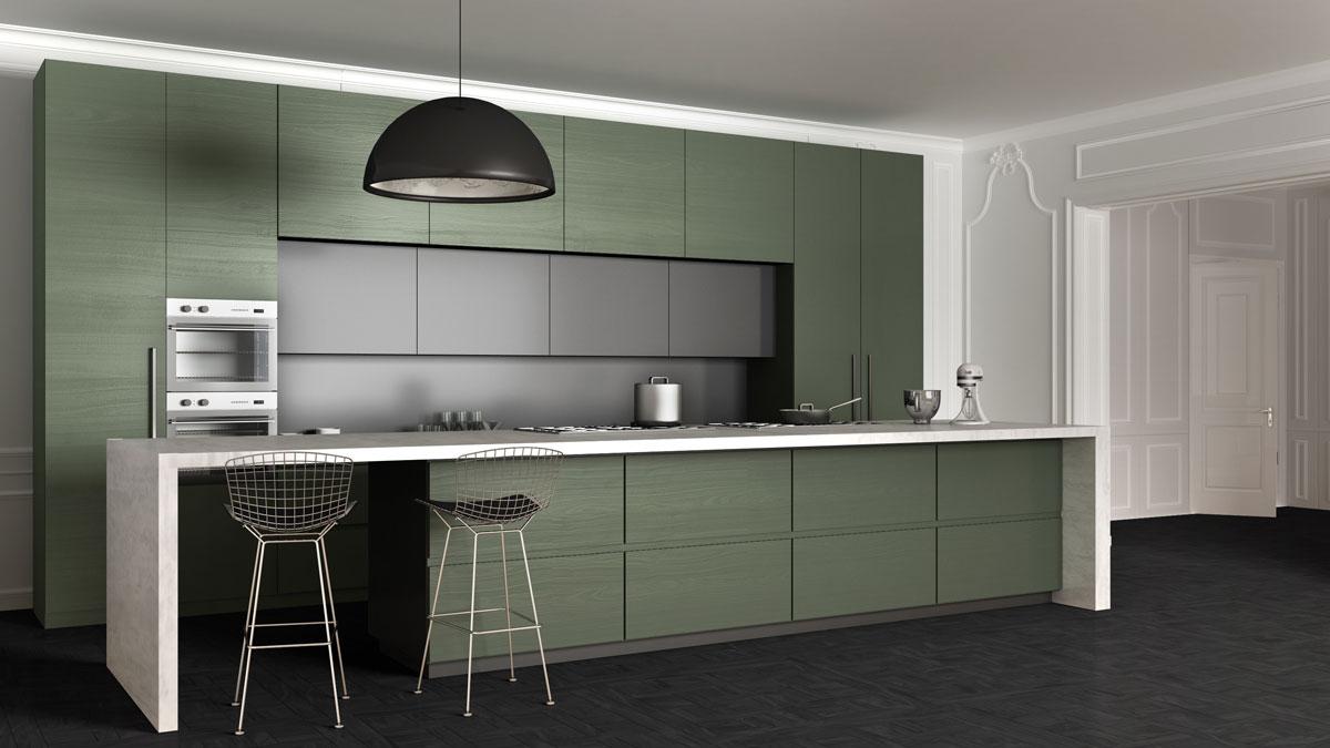 Green Texture Matt Straight Island Kitchen
