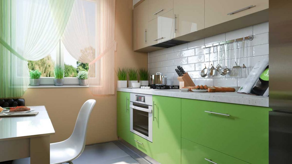Lime Green Straight Modern Kitchen