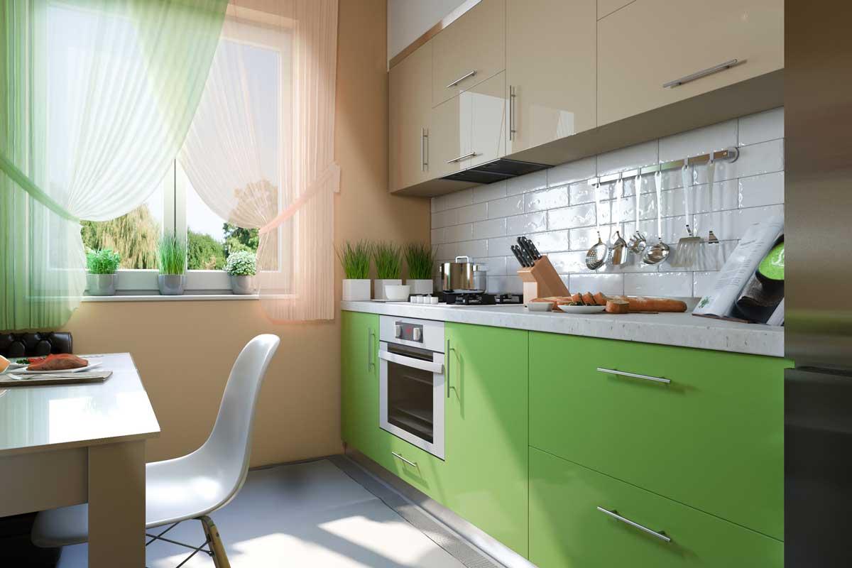 Lime Green Straight Modern Kitchen