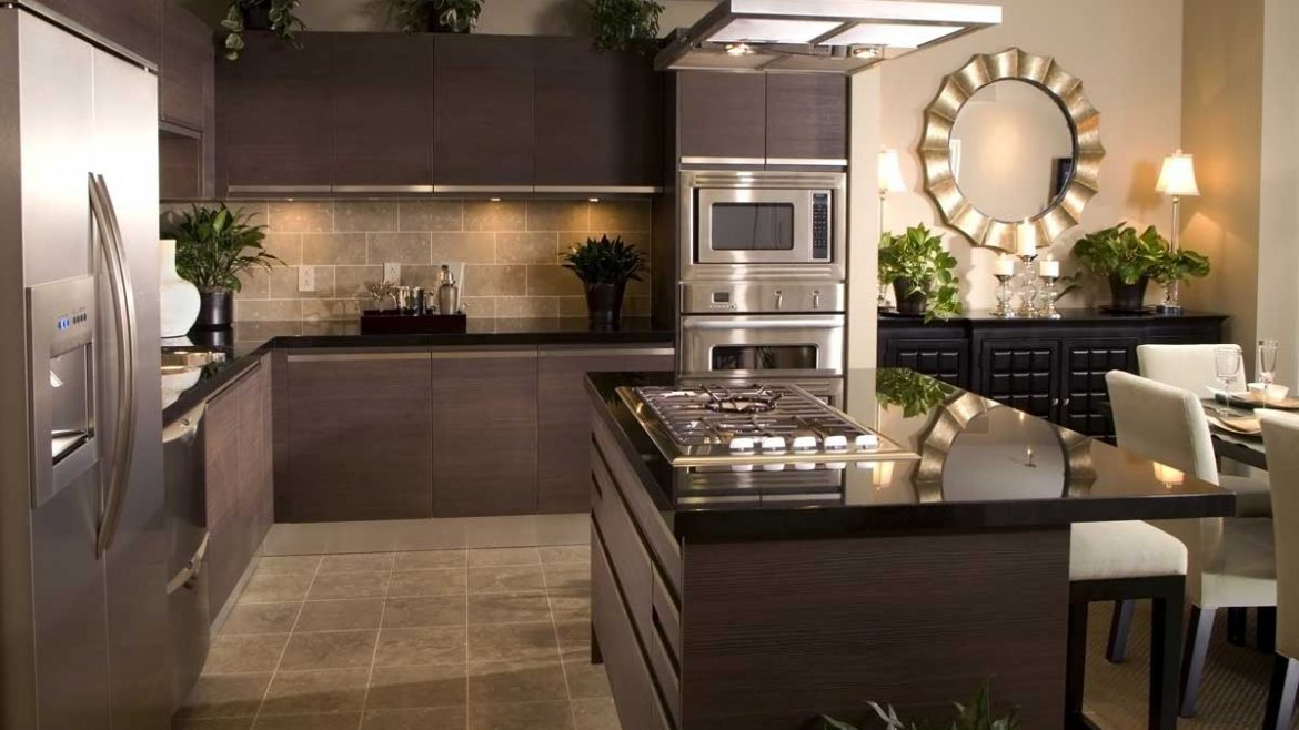 Luxury Brown Handless Island Kitchen