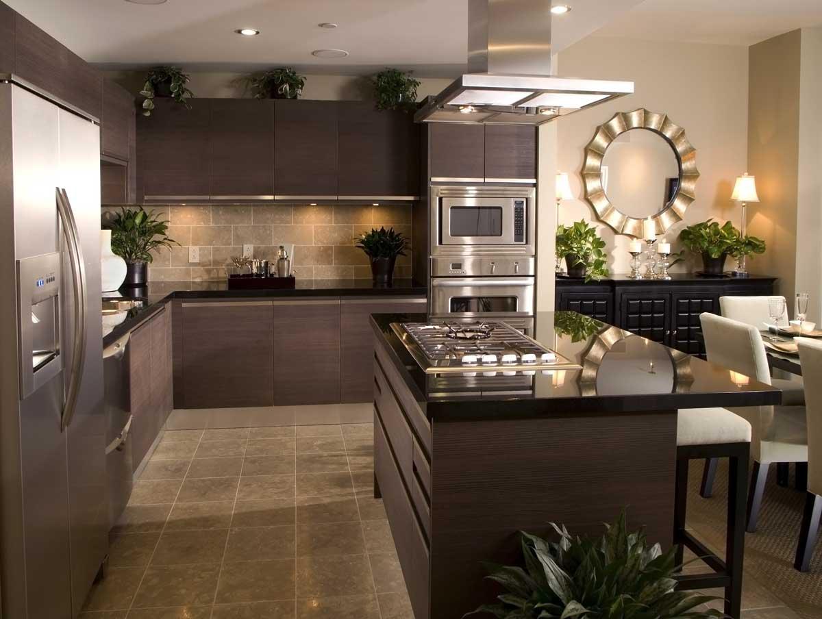 Luxury Brown Handless Island Kitchen