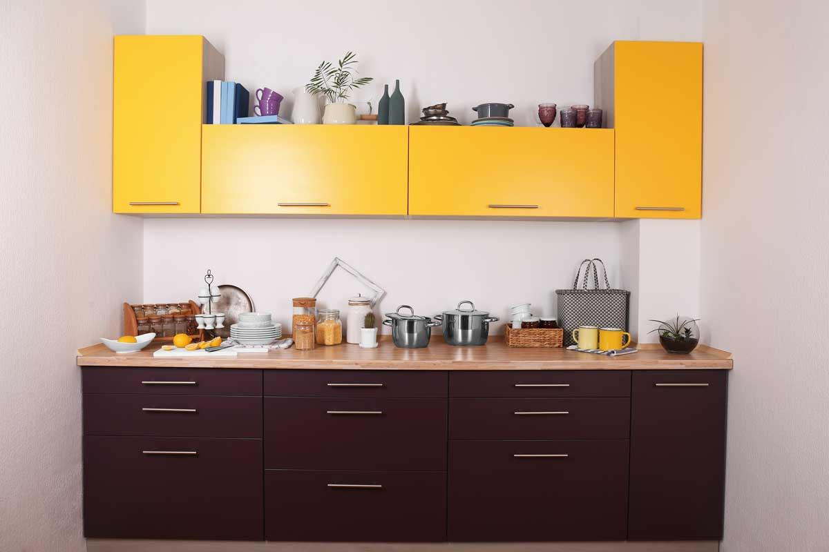 Maroon Mustard Straight Modular Kitchen