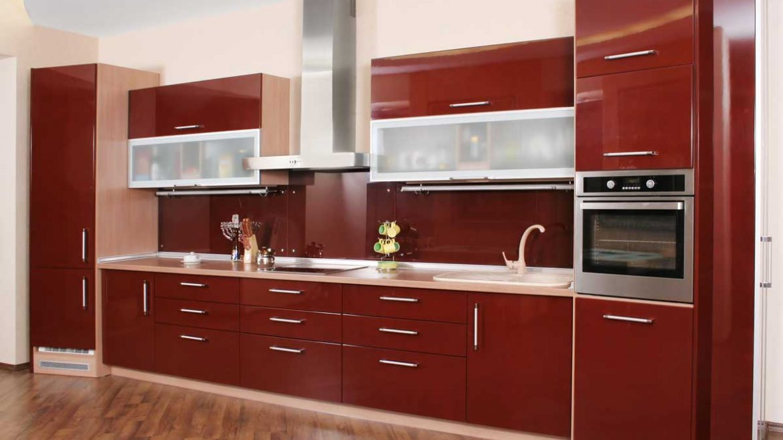 maroon red straight line modular kitchen  magick woods