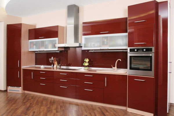 Maroon Red Straight Line Modular Kitchen