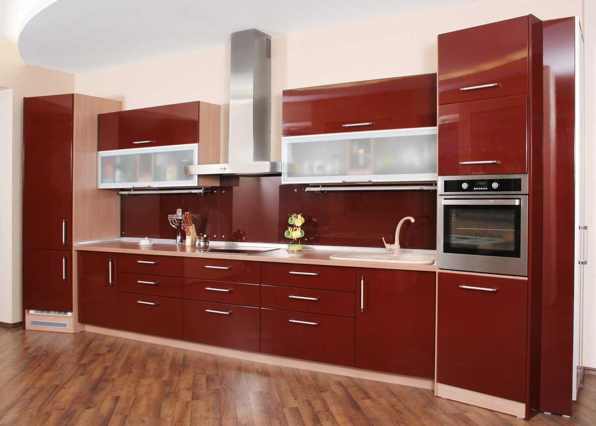 Maroon Red Straight Line Modular Kitchen