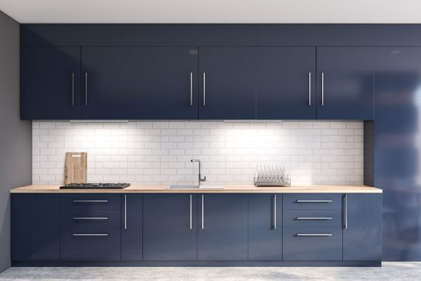 Marvel Blue Straight Modular Kitchen
