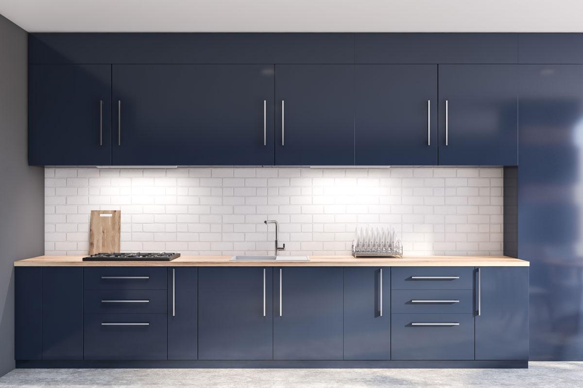 Marvel Blue Straight Modular Kitchen