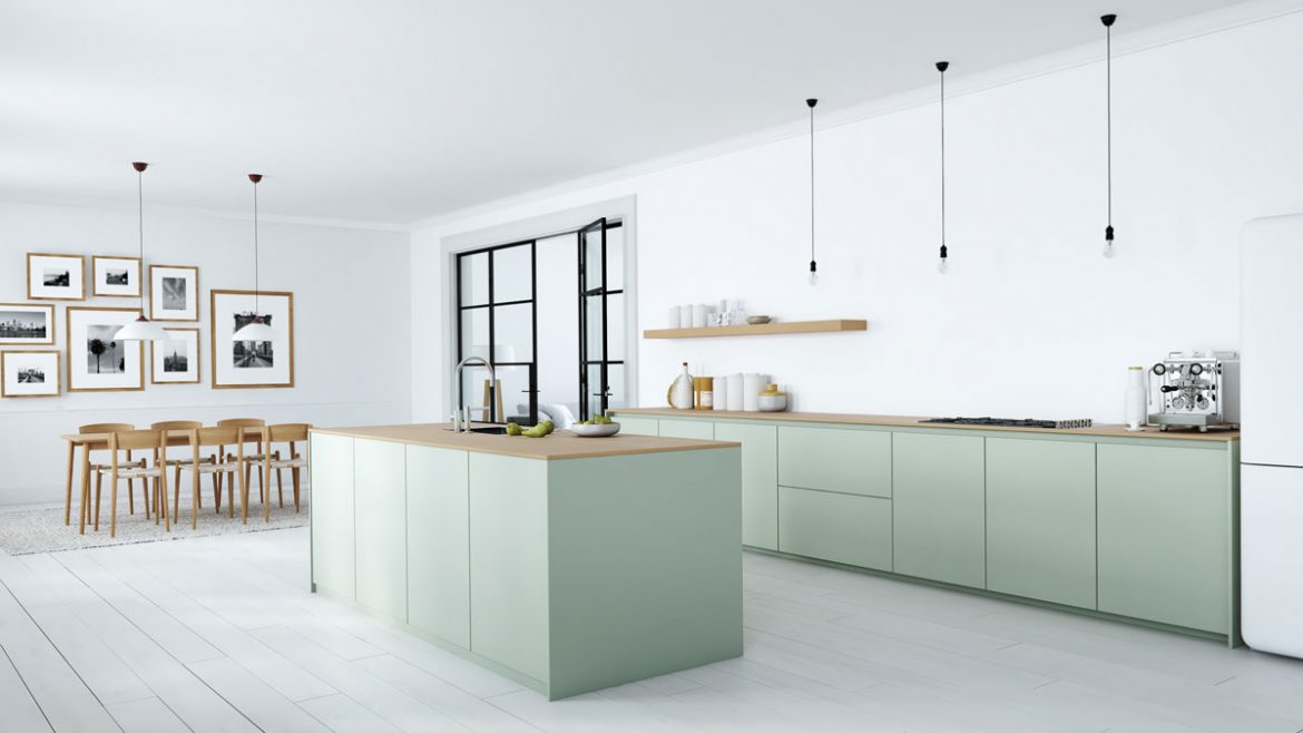 Matt Pastel Green Straight Island Kitchen