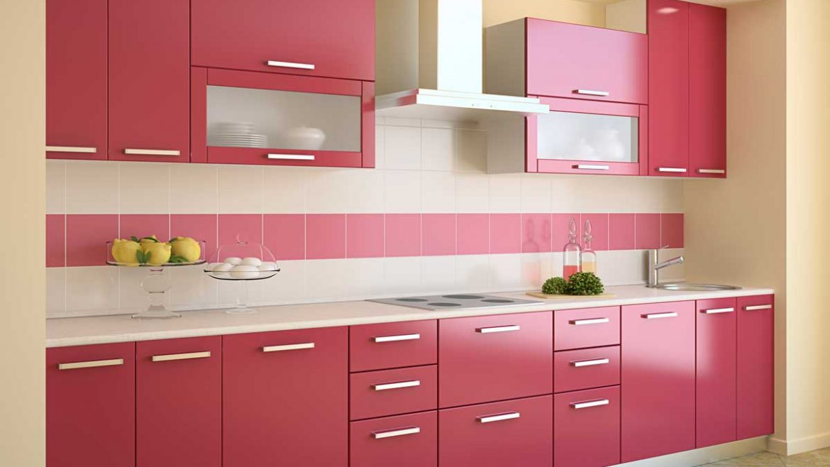 Pink Red Straight Modular Kitchen