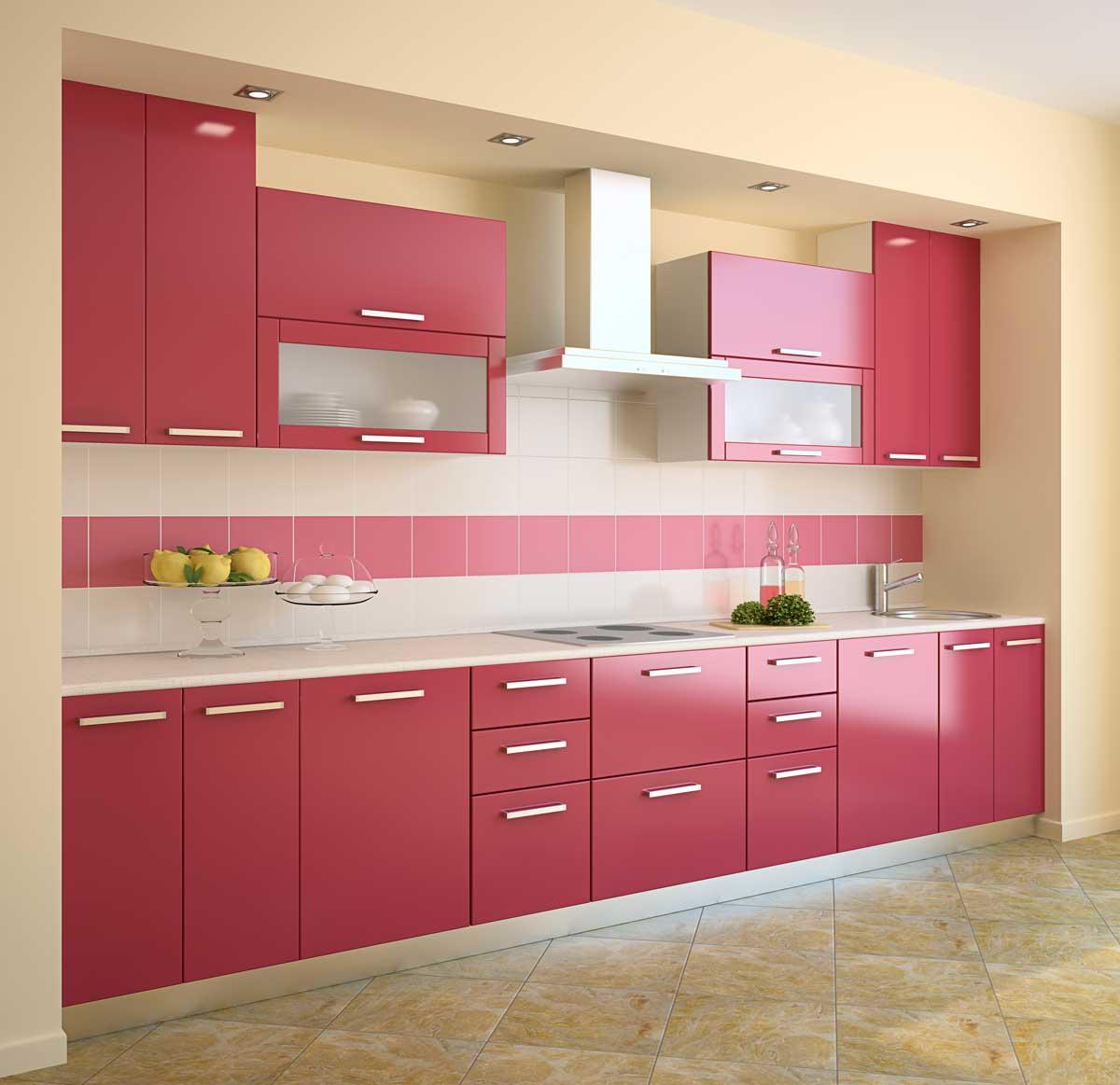 Pink Red Straight Modular Kitchen