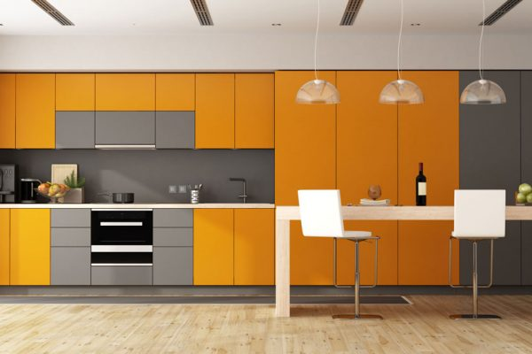 Pop Orange Gray Stylish Modern Kitchen