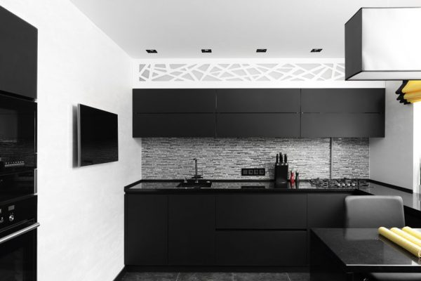 Pure Matt Black Peninsula Modular Kitchen