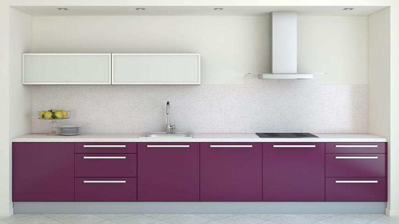 Purple Straight Modular Kitchen