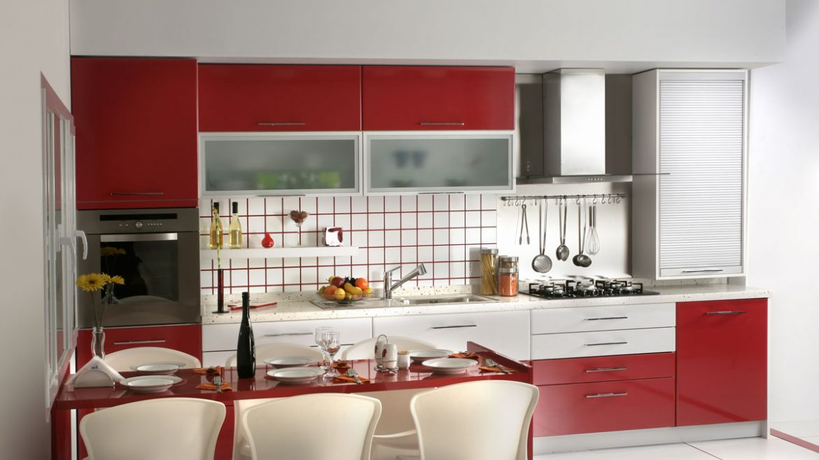 Red Trendy Modular Kitchen With Rolling Shutter