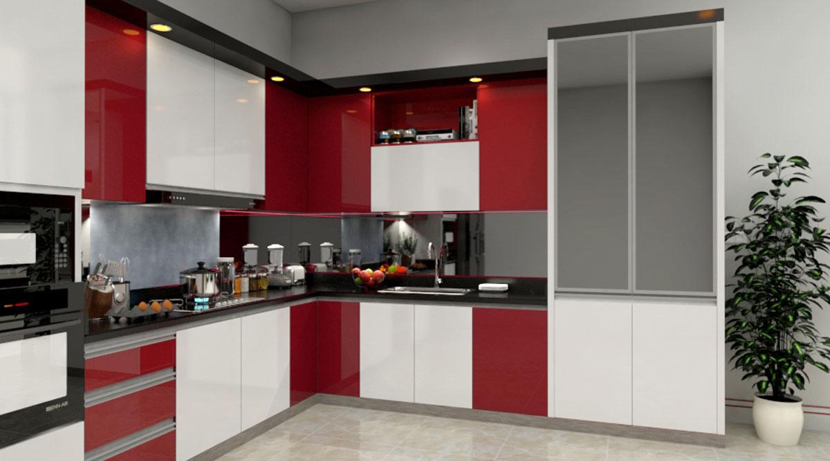 Red White Gloss L Shape Modular Kitchen