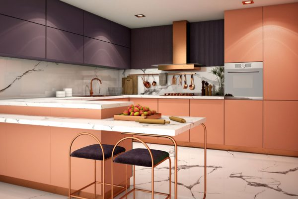 Rose Gold Violet Peninsula Modular Kitchen