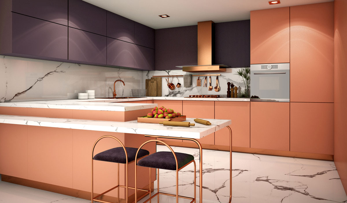 Rose Gold Violet Peninsula Modular Kitchen
