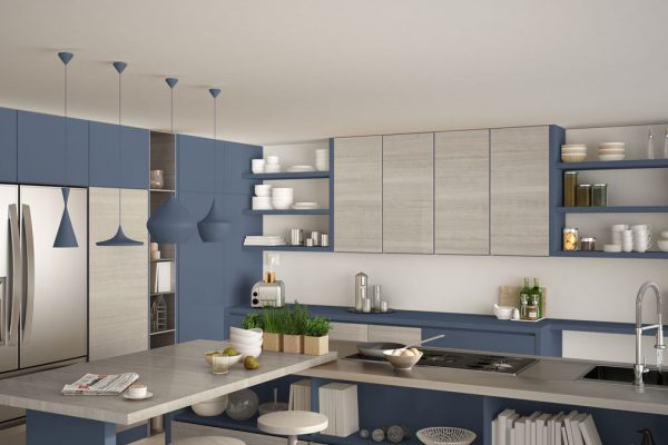 Sophisticated Blue Gray Modular Kitchen