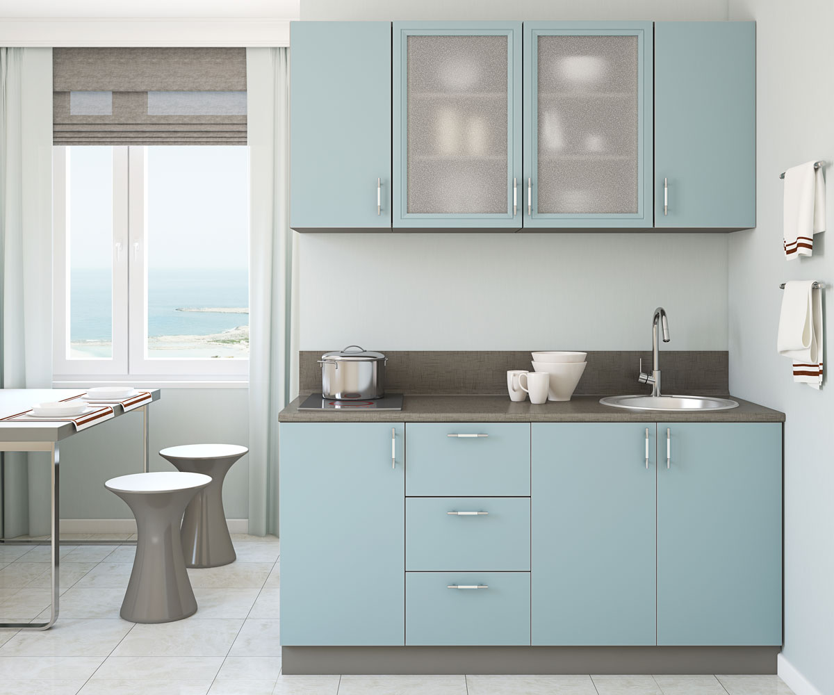 Space Saving Blue Straight Kitchen With Crockey Unit