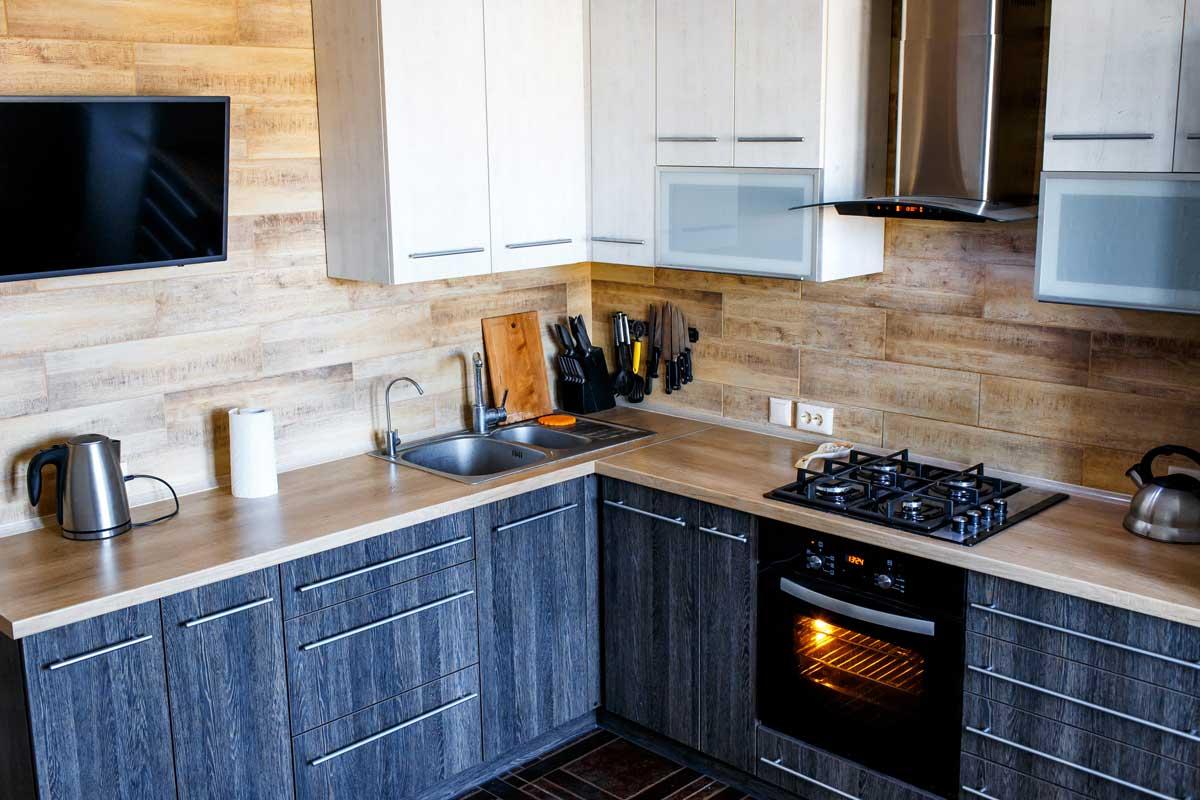 Space Saving Gray Modern Kitchen Cabinet