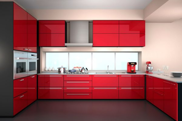 Spicy Red U Shape Modular Kitchen