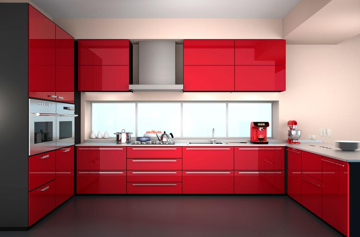 Spicy Red U Shape Modular Kitchen