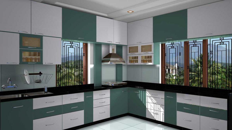 Two Tone L Shape Kitchen Cabinet