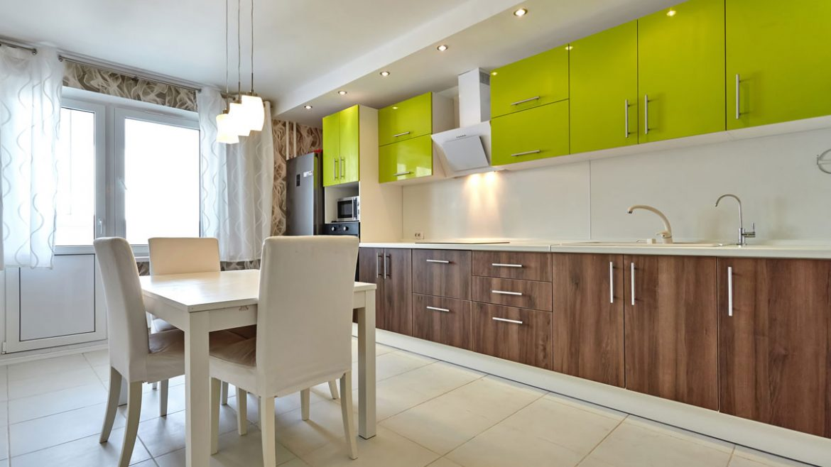 Two Tone Straight Line Modular Kitchen