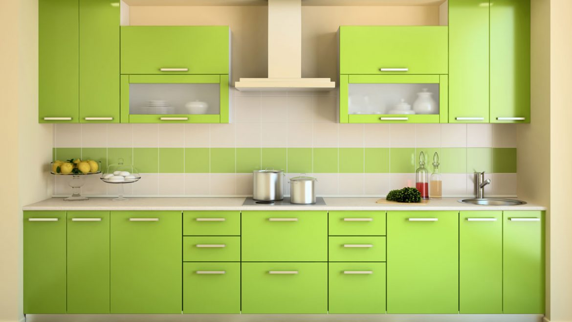 Vibrant Green Straight Compact Modular Kitchen