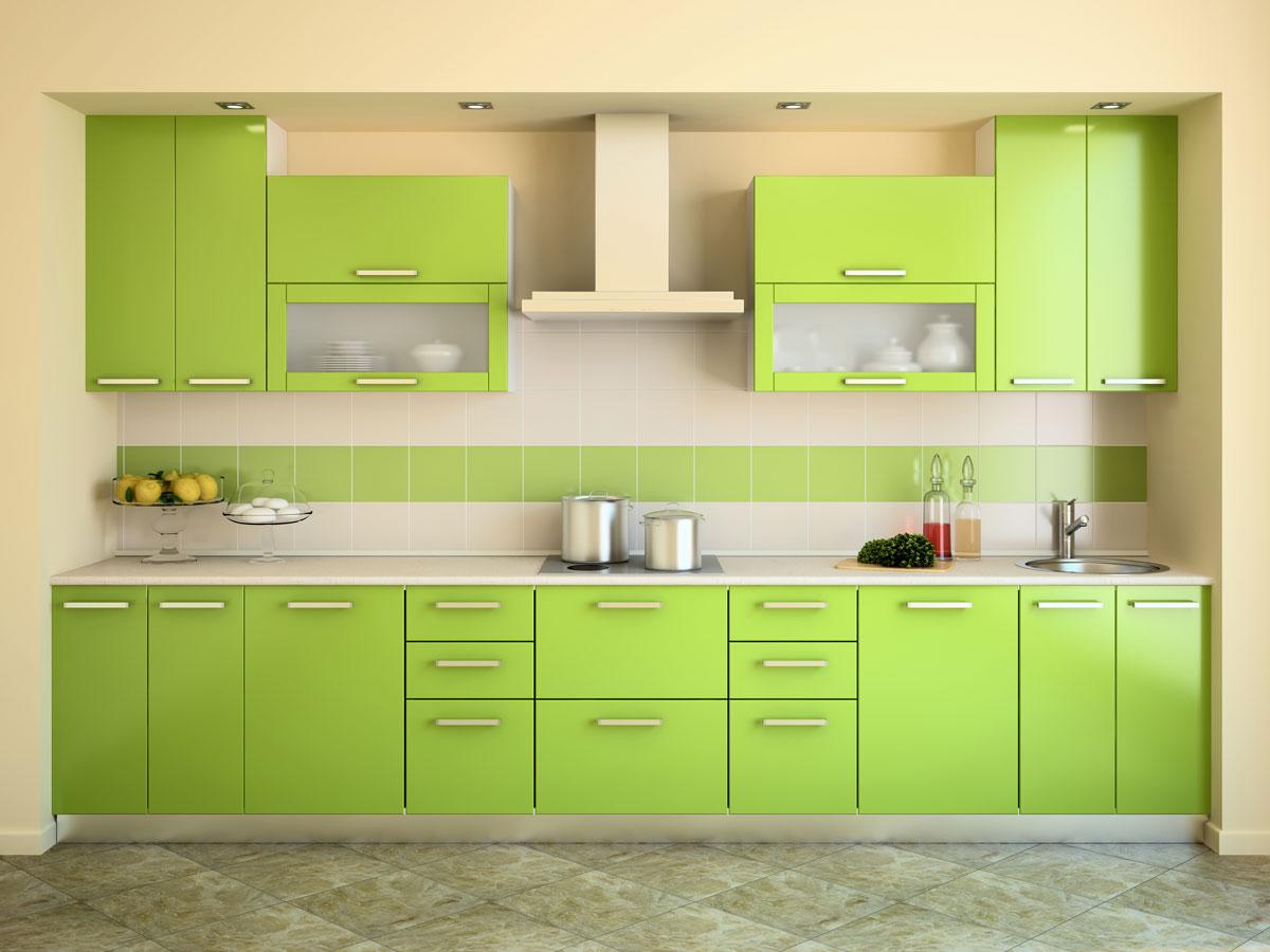 Vibrant Green Straight Compact Modular Kitchen