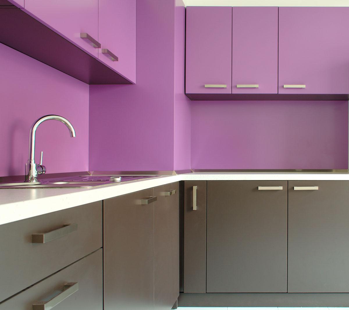 Violet Brown L Shape Modular Kitchen