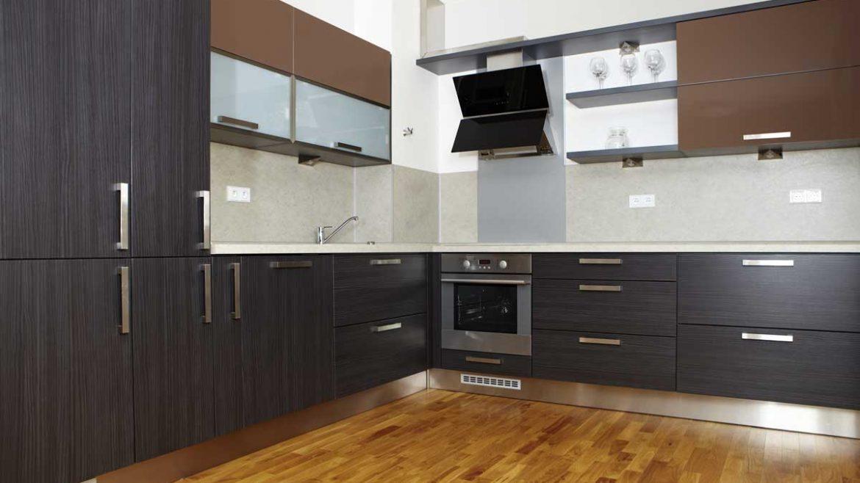 Warm Brown L Shape Contemporary Modular Kitchen