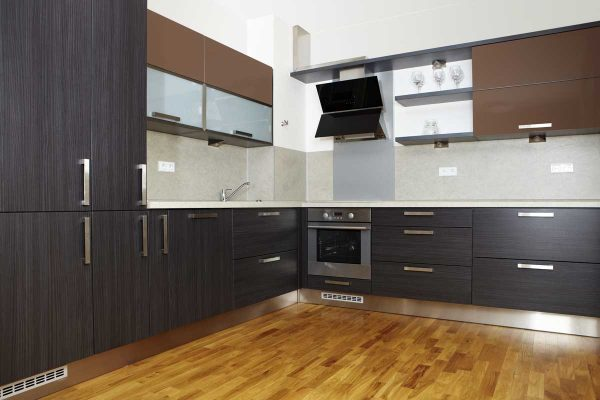Warm Brown L Shape Contemporary Modular Kitchen