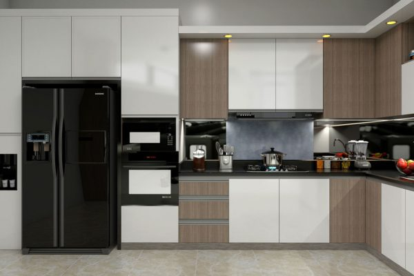White Brown L Shape Modular Kitchen With Appliances