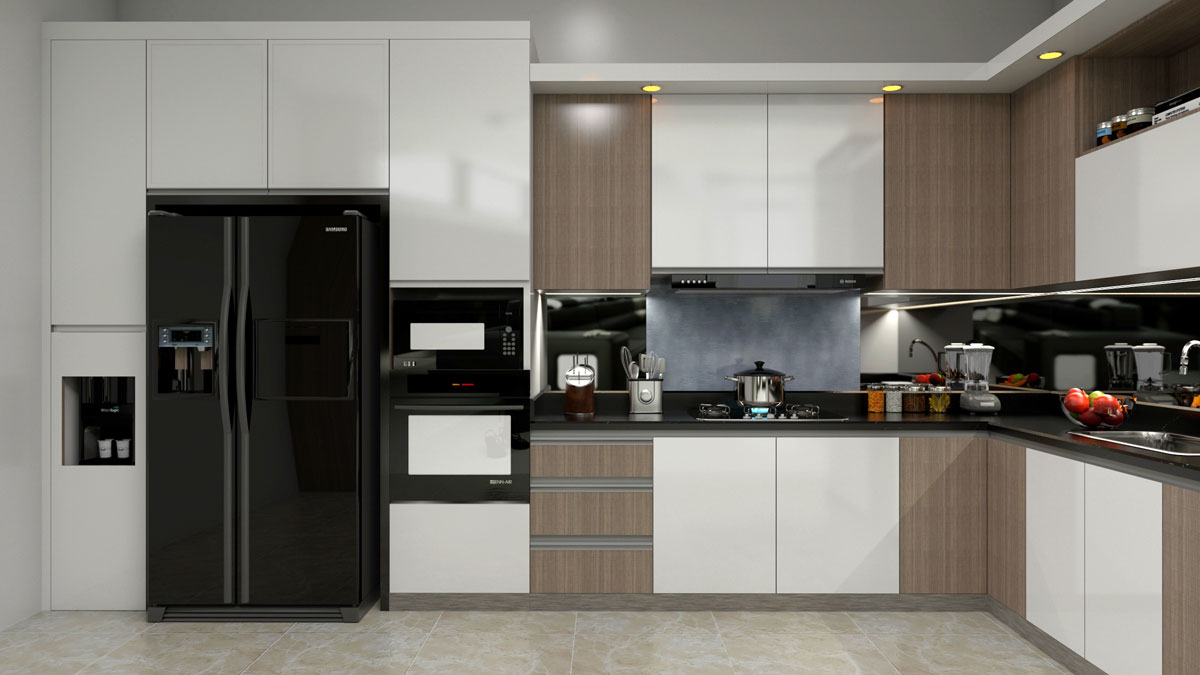 White Brown L Shape Modular Kitchen With Appliances