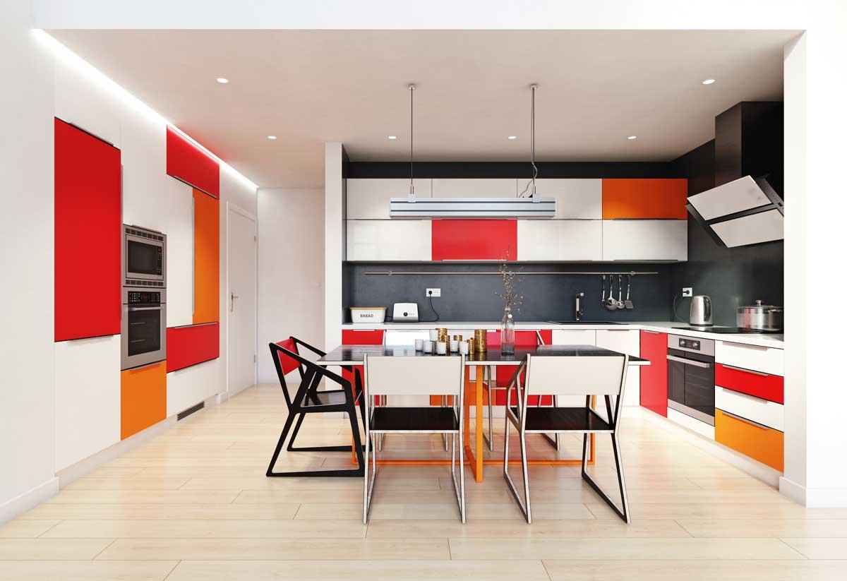 White Color Tone L Shape Modular Kitchen