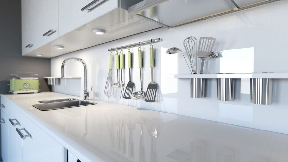 White Counter Modular Kitchen