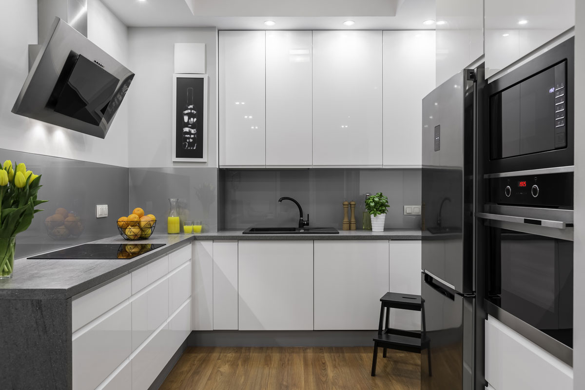White Gray Handless L Shape Modular Kitchen