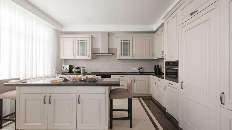 White Groove Door Style Island Kitchen Cabinet