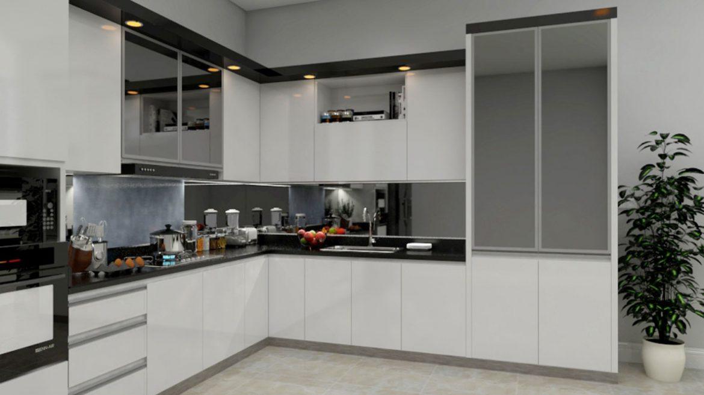 White L Shape Modular Kitchen