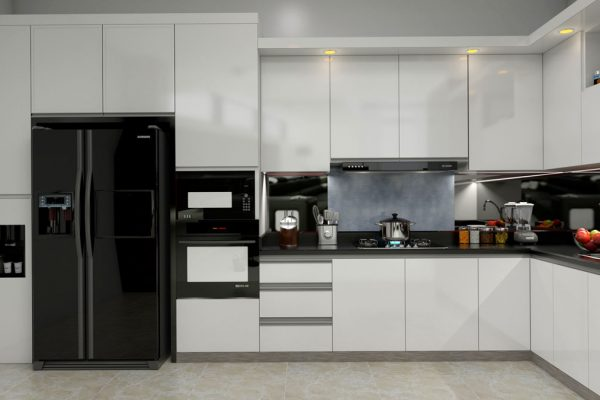 White L Shape Modular Kitchen With Appliancess