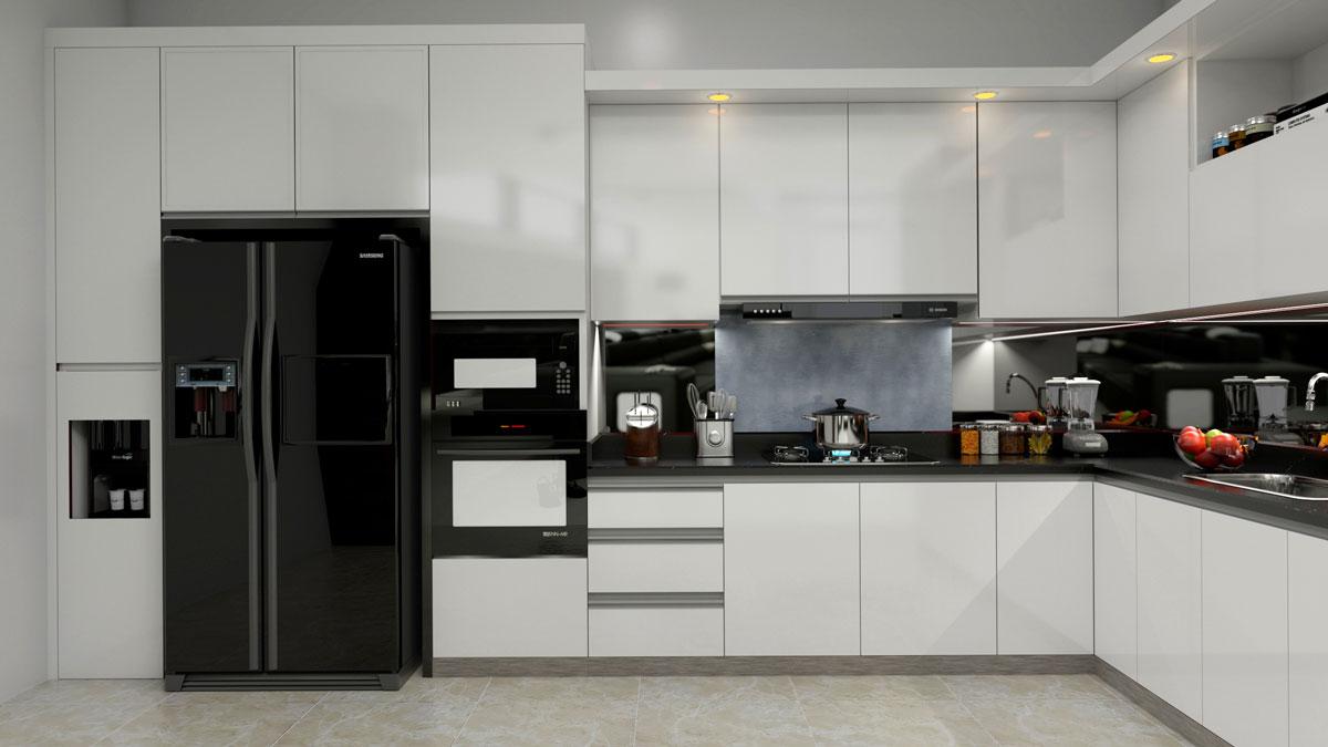 White L Shape Modular Kitchen With Appliancess