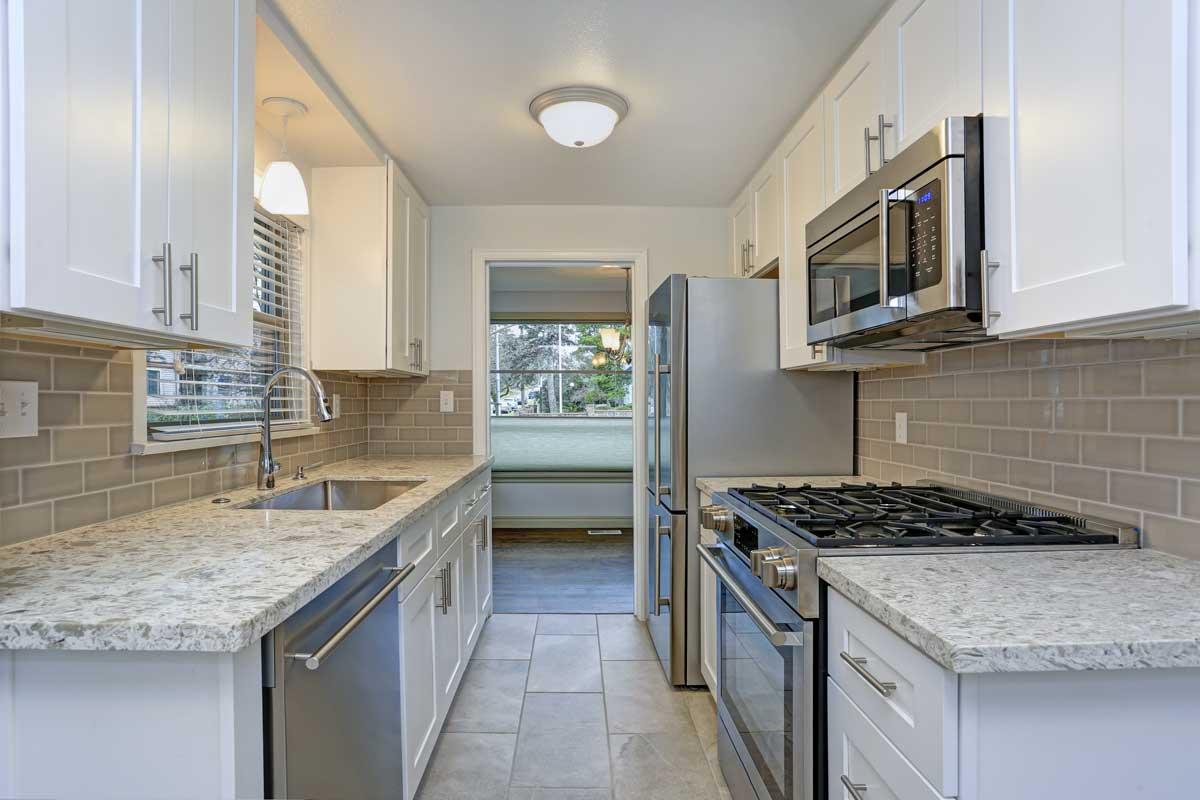 White Parallel Modular Kitchen