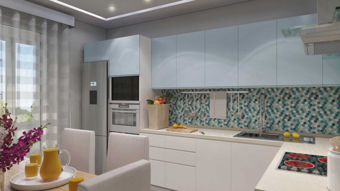 White Pastel Blue L Shape Modular Kitchen