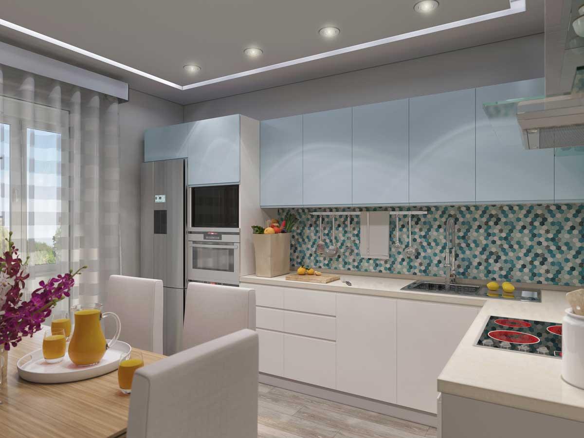 White Pastel Blue L Shape Modular Kitchen
